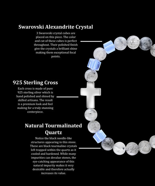 June Alexandrite Cross Tourmalinated Quartz (8mm) - Gemvius