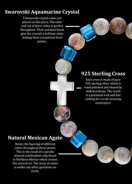 March Aquamarine Cross Mexican Agate (8mm) - Gemvius