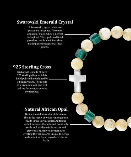 May Emerald Cross African Opal (8mm) - Gemvius