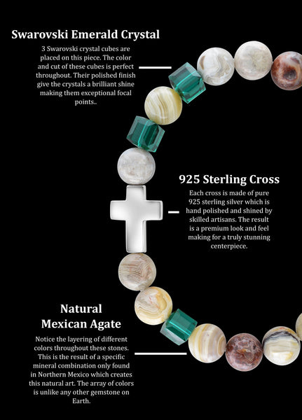 May Emerald Cross Mexican Agate (8mm) - Gemvius