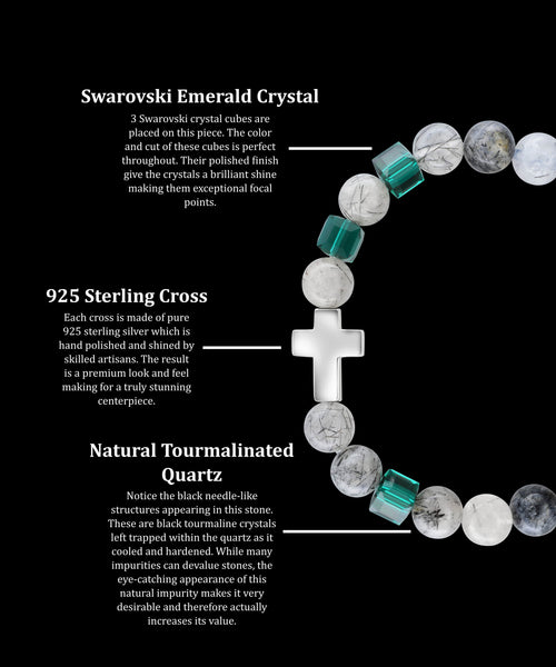 May Emerald Cross Tourmalinated Quartz (8mm) - Gemvius