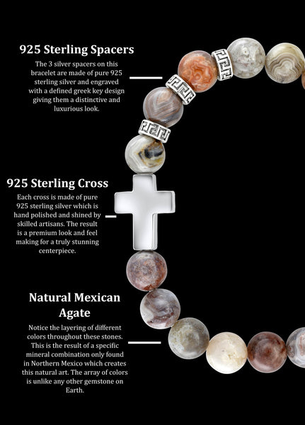 Premium Cross Mexican Agate (8mm) - Gemvius