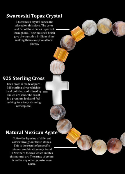 November Topaz Cross Mexican Agate (8mm) - Gemvius