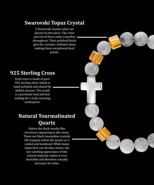 November Topaz Cross Tourmalinated Quartz (8mm)