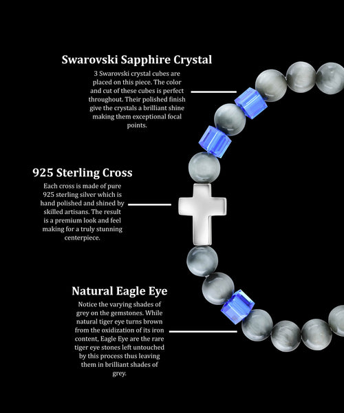 September Sapphire Cross Eagle Eye (8mm)