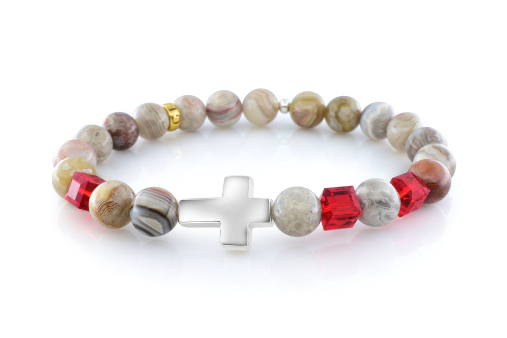 July Ruby Cross Mexican Agate (8mm) - Gemvius