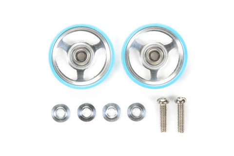 17mm Aluminum Roller w/Plastic Rings (light blue )