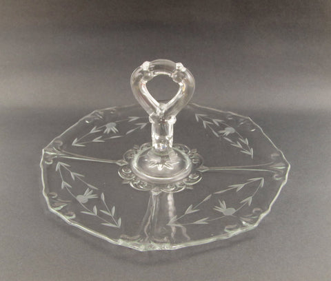 Depression glass cake stand or server tray
