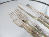 M monogram mother of pearl silver handled cutlery for 2 dated 1916