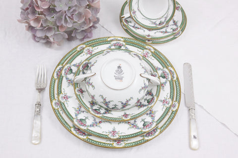 1930s Royal Worcester ROSEMARY in celedon green and pink - 48 pieces