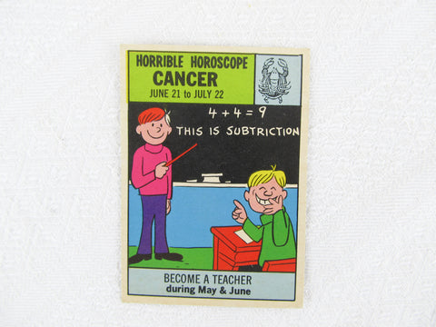 Horrible Horoscope Cancer trading card no. 15