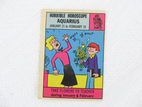 Horrible Horoscope Aquarius trading card no. 1