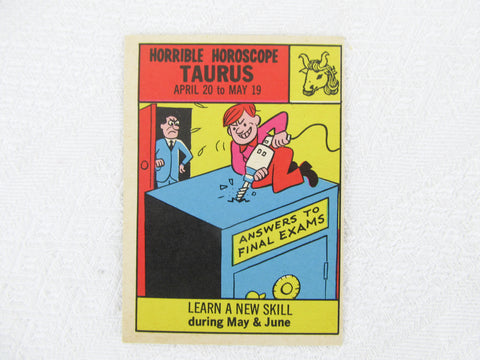 Horrible Horoscope Taurus trading card no. 63