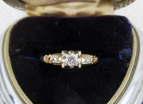 Art Deco Birks diamond gold engagement ring