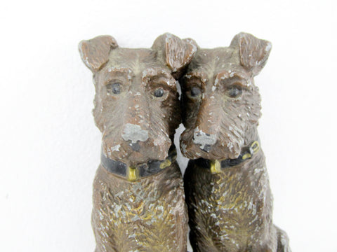 Pair of cold metal painted Terrier dog figurines