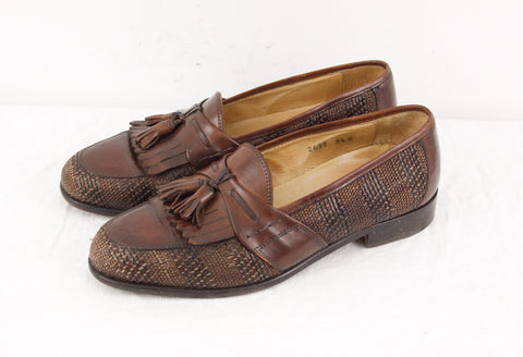 Gino Rossi Italian loafers in chestnut brown woven leather