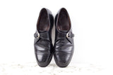 Allen Edmonds black leather monk strap semi-brogue dress shoe size 10
