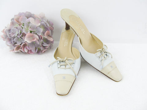 Vintage CHANEL two tone leather mules EU 38.5 / US 8