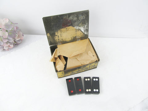 Vintage Hong Kong dominoes in metal box