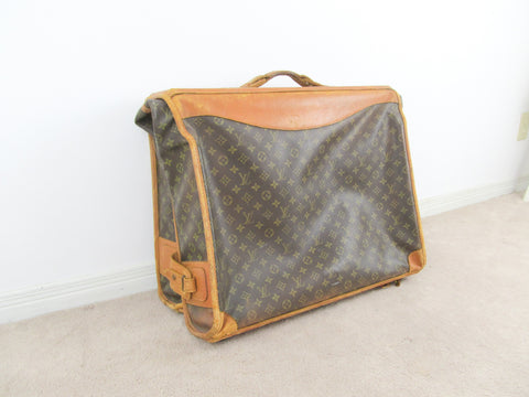 Vintage Louis Vuitton Monogram Canvas Leather Garment Travel Bag w/ COA