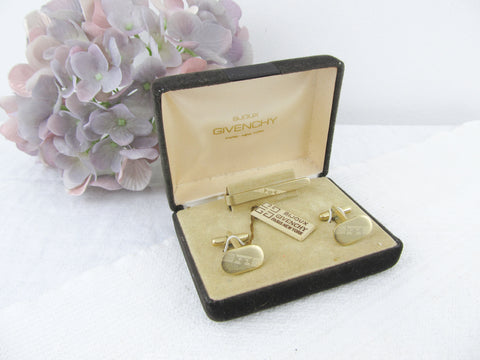 Givenchy Bijoux cuff links and tie clip set in original box