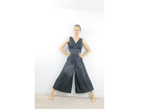 1960s Black jumpsuit with palazzo wide trouser legs
