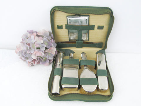 Green leather dressing table set ca 1940s