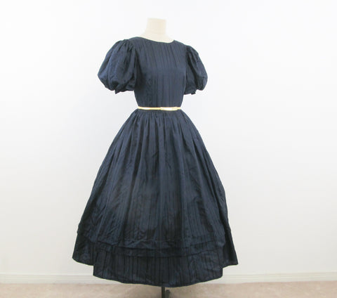 1950s Navy silk dress with puff sleeves