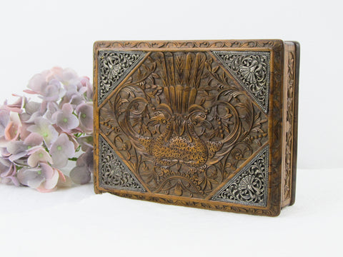Antique carved hardwood Indonesian Jepara box