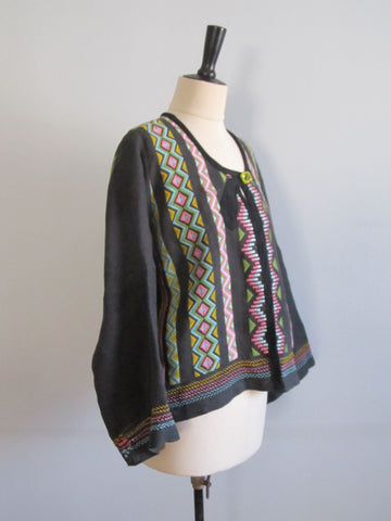 Black linen embroidered jacket