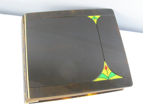 XL vintage photoalbum, blank with art nouveau faux tortoiseshell covers