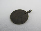 1940 Coin fob, Indian watch fob, bracelet charm British India King George VI One quarter Anna India