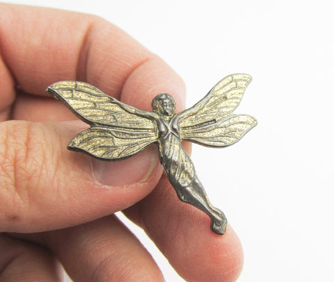 Sterling silver fairy lapel pin in 1930s look