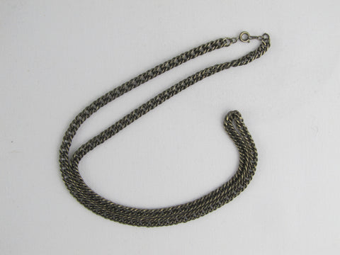 Mens silver necklace, parallel curb chain 24""
