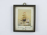 Small watercolour picture of ships, vintage martime christmas greetings