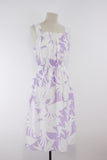 Cotton summer dress, white and lilac beach dress, hawaiian style girls dress