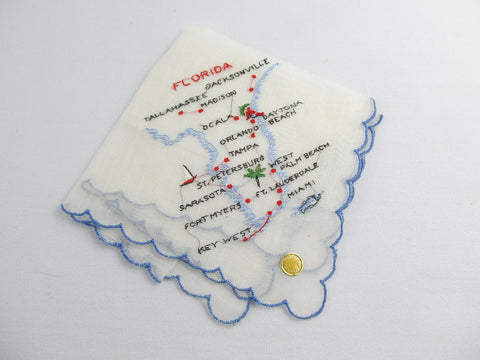 Vintage embroidered Florida hankie, white handkerchief