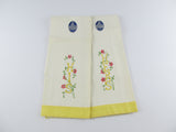 Vintage his and hers linen hand towels, Lady Christina household linens, small tea towels