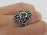 Amethyst and marcasite silver ring size N