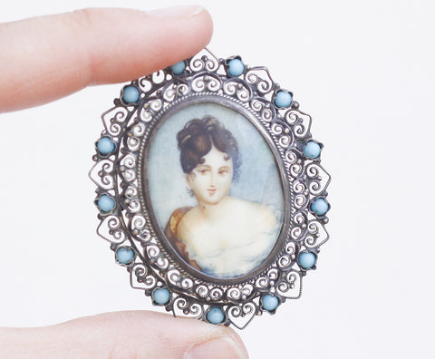 Antique silver filigree brooch with miniature watercolour portrait and turquoise stones