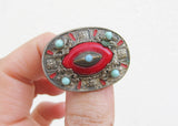 Antique Evil Eye brooch, 1930s bohemian brooch