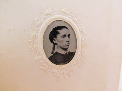 Victorian Gem tintype of a young woman, antique portrait photography