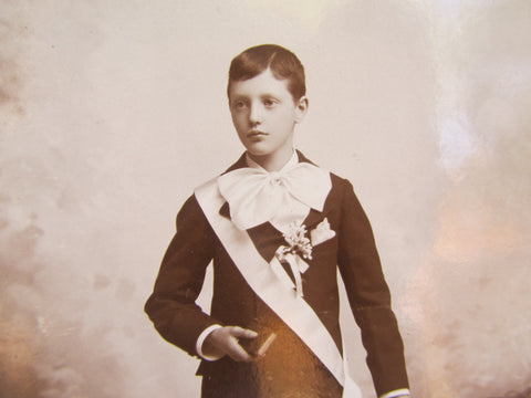 Antique CDV of Boy with Sash and Bow by Strauss, St Louis