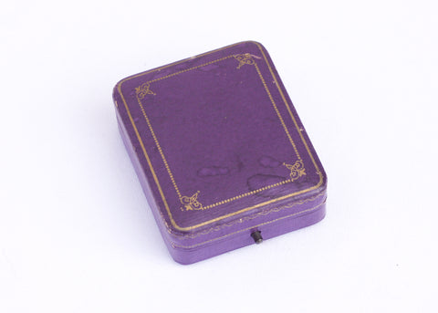Antique purple jewelry box, art nouveau brooch storage box