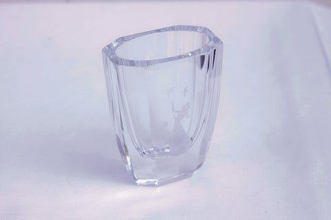 Orrefors crystal vase, scandinavian art glass