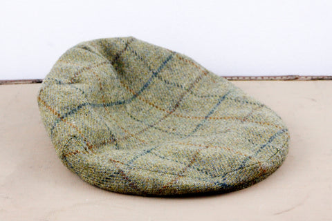 Green Scottish tweed flat cap for men size 7 3/8