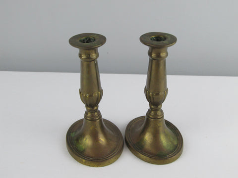 Vintage brass candle holders, made in England
