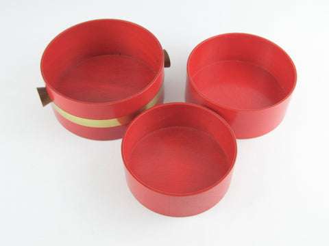 Mid Century modern wooden bowl, Japanese red nesting bowls by Nippon Saito