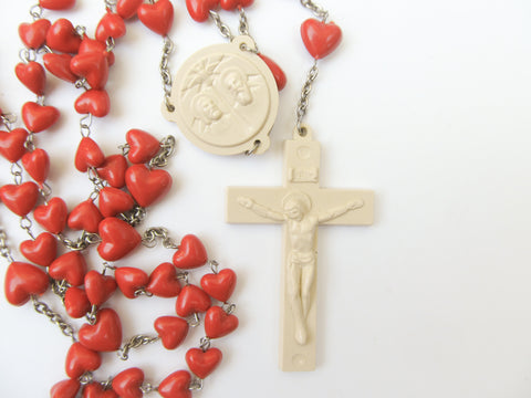 Rosary with hearts, plastic rosary, communion, cornfirmation, religious gift