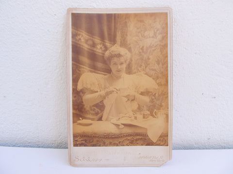 Antique CDV of Lillian Russell, victorian portrait photography of an American singer and actress